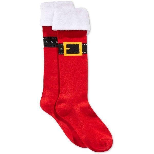 Charter Club Christmas Buckle Up Mrs. Claus Santa Red Knee High Socks NWOT  | eBay