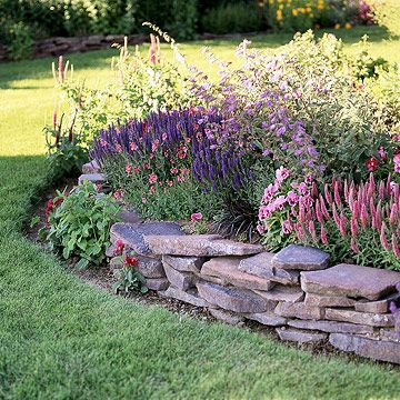 pastel retaining wall garden plan - Rock Wall Garden Designs