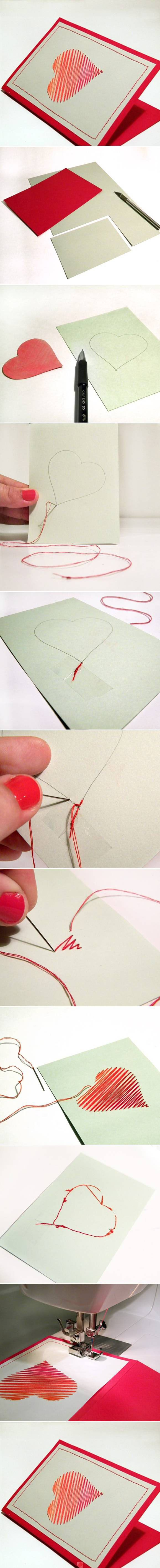 thread/yarn heart cards. could even weave charms on to it. may even try this with xmas trees.