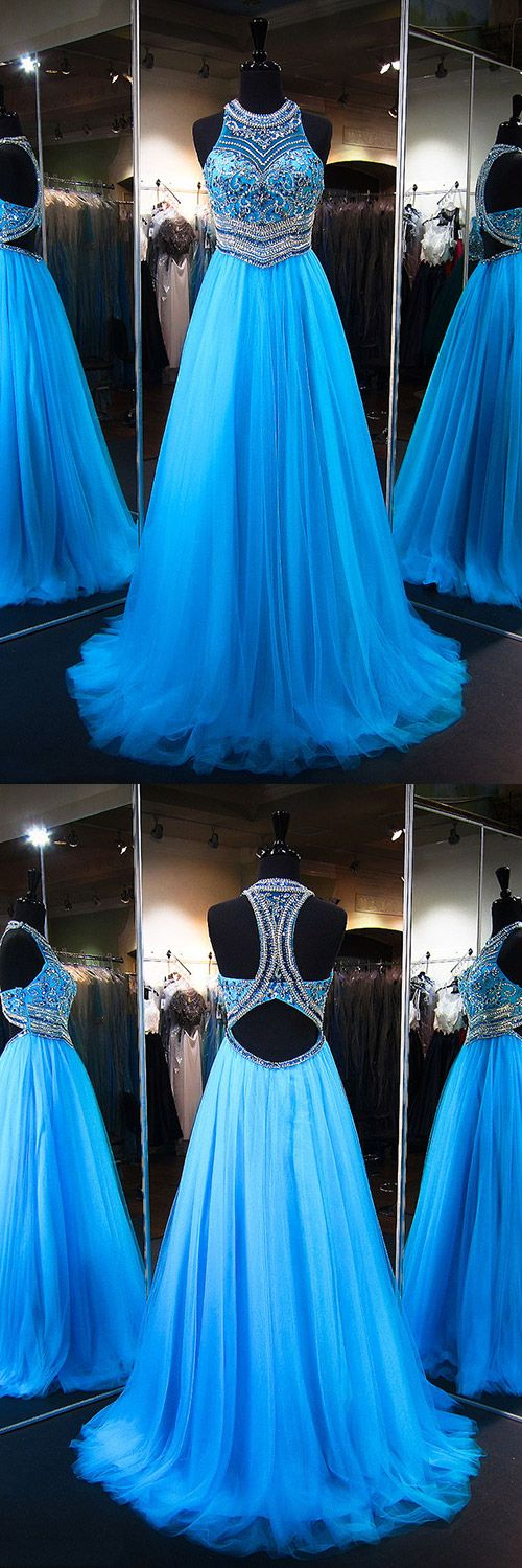 Blue Prom Dresses Ball Gown, Long Formal Dresses 2018 Sparkly,  Princess Party Dresses Scoop Neck Tulle, Modest Evening Dresses Cheap