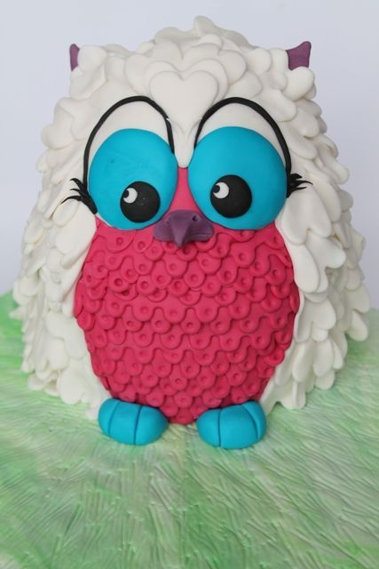White, Turquoise & Hot Pink 3-D Owl Cake