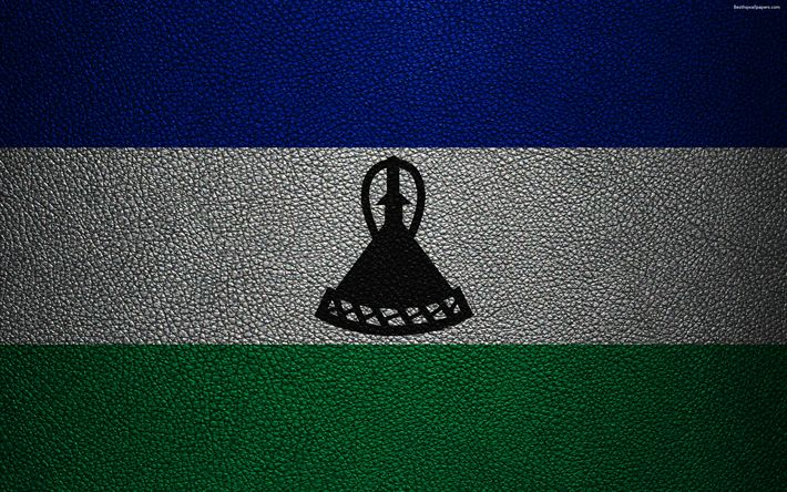 Download wallpapers Flag of Lesotho, 4k, leather texture, Africa, Lesotho flag, flags of African countries, Lesotho