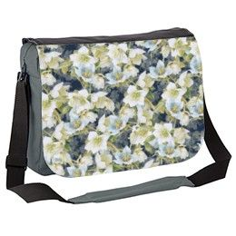 Blue and white Christmas roses or hellebores on dark blue background Messenger Bag