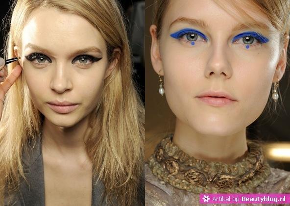 Iets dat eruit sprong op de catwalk, was de overdreven en opvallende eyeliner. Het zal je dan ook niets verbazen dat dit een van de make-up trends is voor winter 2012-2013. Deze look is op verschillende manieren te creëren. Zo kun je gaan voor een fel kleurtje, maar ook voor lijn die extra uitloopt. Alles is goed, zolang je er maar voor zorgt dat jouw eyeliner opvalt.