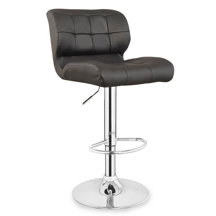 Leick 10104DB Patch Tufted Faux Leather Swivel Bar Stool (Set of 2), Deep Brown