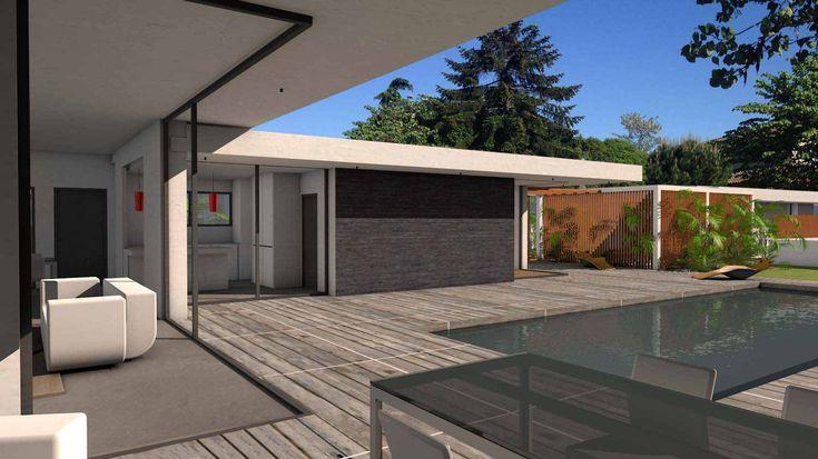 Atelier d 39 architecture sc nario maison contemporaine d for Baie vitree d angle