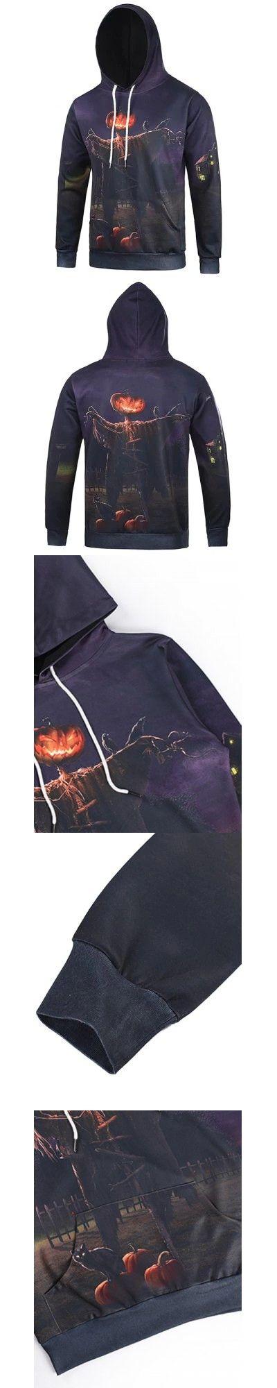 Purple 3D Devil Halloween Pumpkin Cat Print Purple Cool Hoodie XL-$23.18