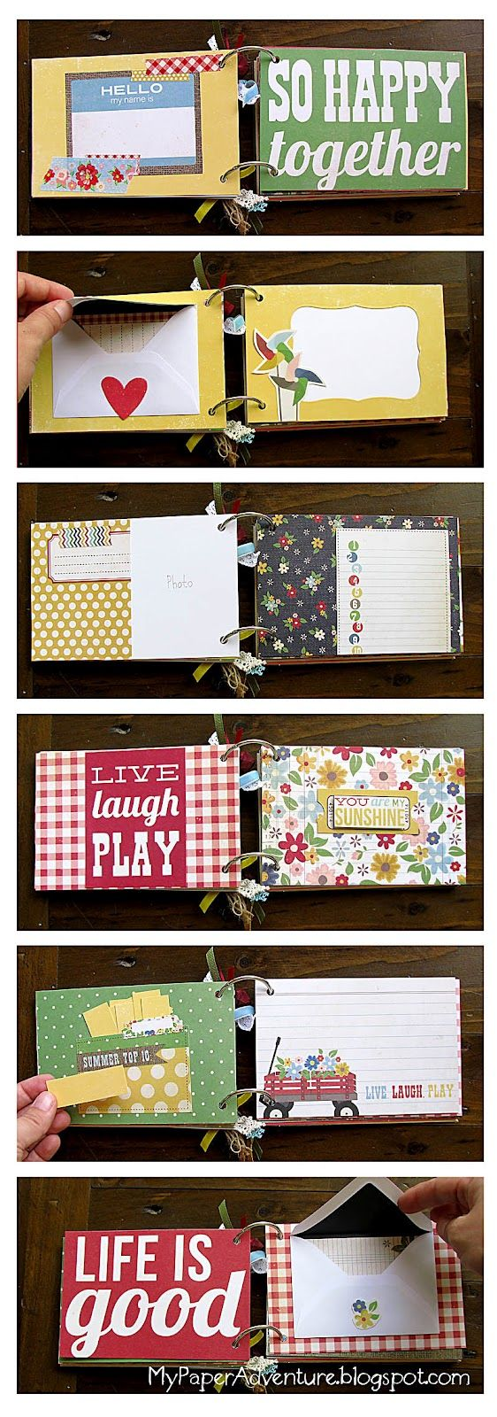 Scrapbook ideas mini books - Mini Album Using 4x6 Pics As The Actual Pages With Dividers Between