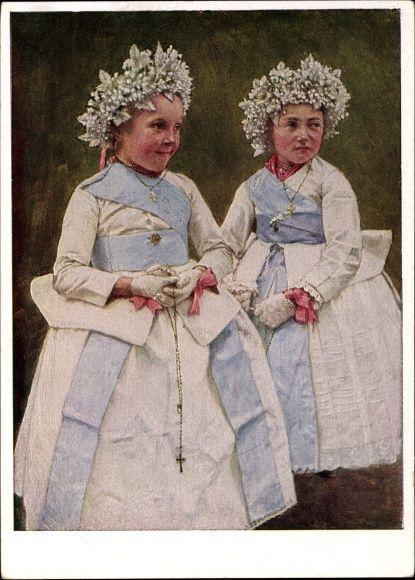 Künstler Ansichtskarte / Postkarte Retzlaff, Hans, Muttergottesmaidle aus Saderlach, Rumänien, Banater Schwaben