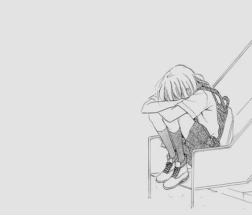 Disegno ragazza depressa