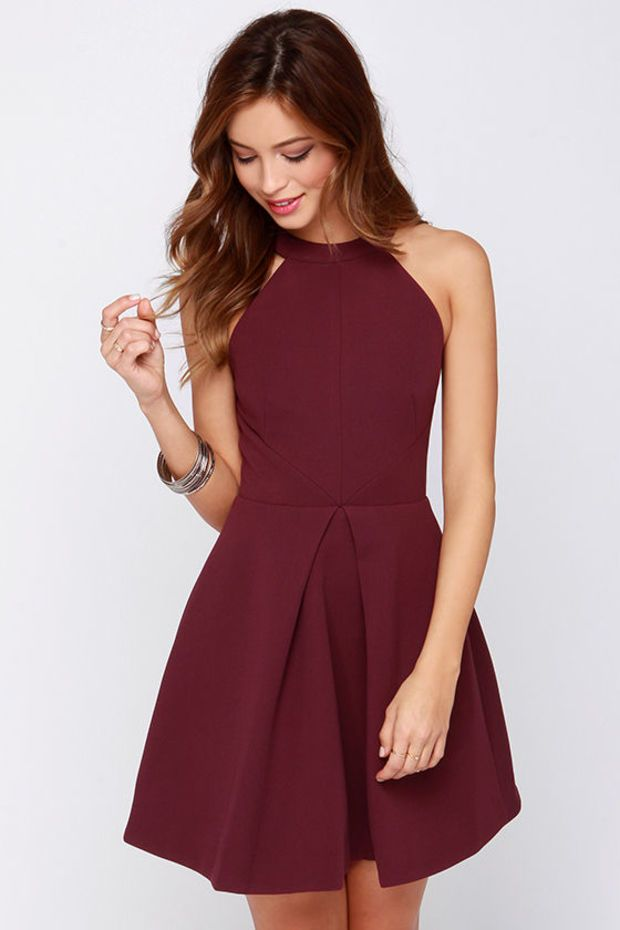 Keepsake Adore You Burgundy Dress