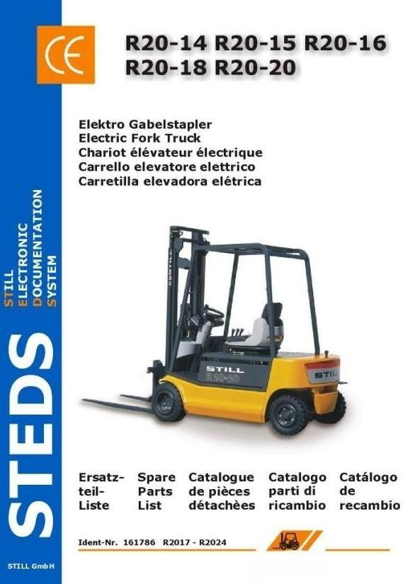 Original Illustrated Factory Parts Manual for Still Electric Fork Truck R20-14, R20-15, R20-16, R20-18, R20-20.Original factory manuals for Still Forklift Trucks, contains high quality images, circuit diagrams and instructions to help you to operate and repair your truck. All Manuals Printable and c