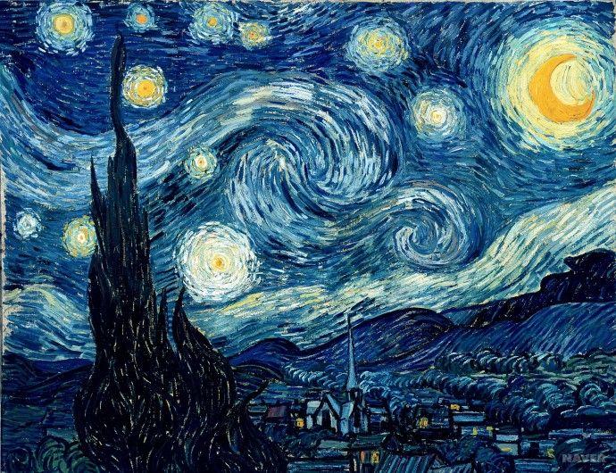 [유화물감과 주석튜브의 개발] <별이 빛나는 밤> - 반 고흐: 반 고흐의 가장 유명한 작품 중 하나다. 강렬한 색이 반 고흐의 감정을 격렬하게 표현하는 동시에 그림 속의 곡선은 굽이치는 운동감을 표현하면서, 그림 전체를 율동적인 흐름으로 통합한다.
