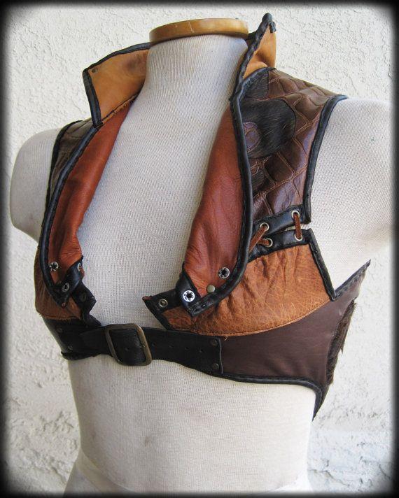 FleurDeLis Steam Punk Leather Vest with Long Fur by ahniradvanyi, $293.00