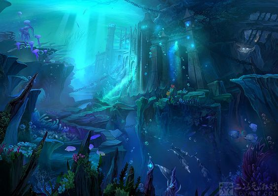 http://ecystudio.deviantart.com/art/Background-undersea-city-455070241:
