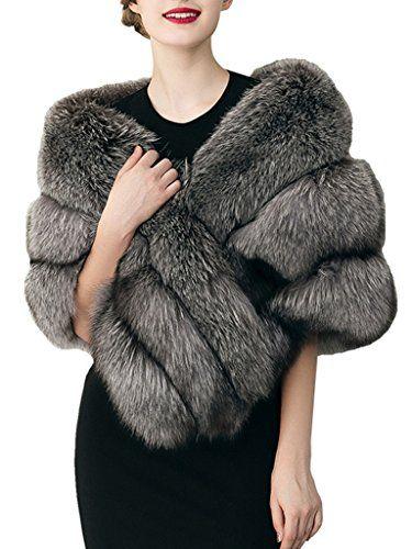 cbdb8f88b99 Simplee Apparel Fausse Fourrure Femme Renard Élégante Chaud Hiver Châle  Écharpe Blanc Noir Gris Outwear Veste