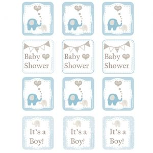 Elephant Baby Shower Printable Cupcake Toppers available online from PartyLady.co.za delivered throughout South Africa