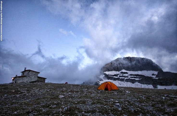 """Morning before the sunrise at Plateau of Mouses, the mythical mountain of Greece. The summit you see is Stefani and the refugee is """"Christos Kakalos"""". Olympus Mountain."""