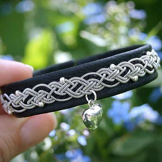 Original leather women's bracelet with pendant and beads sterling silver 925…