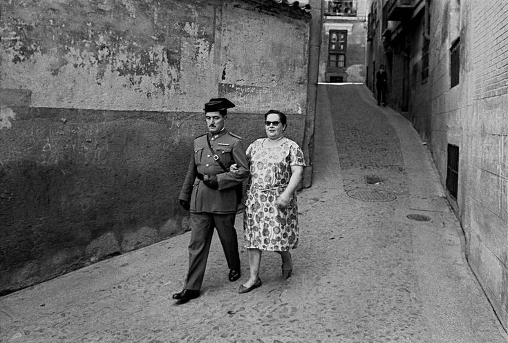 1964, Toledo, Spain, guardia civil with his wife