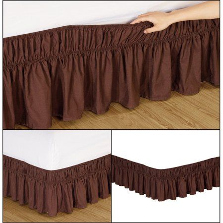 Fashion Street EasyFit Wrap Around Solid Ruffled Bed Skirt, Queen/King Coffee, Brown