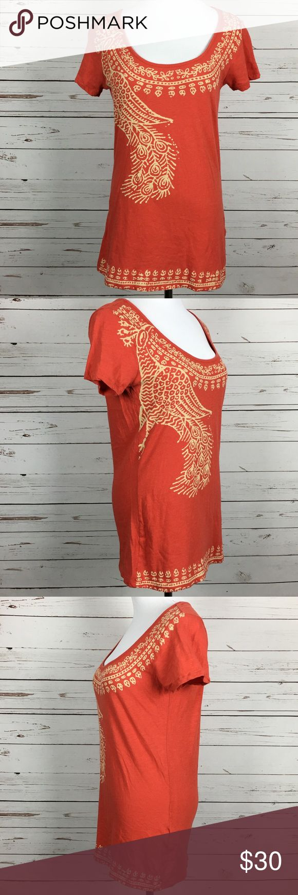 Lucky Brand S Woman's Tee Shirt Orange Peacock Excellent used condition Lucky Brand Tops Tees - Short Sleeve