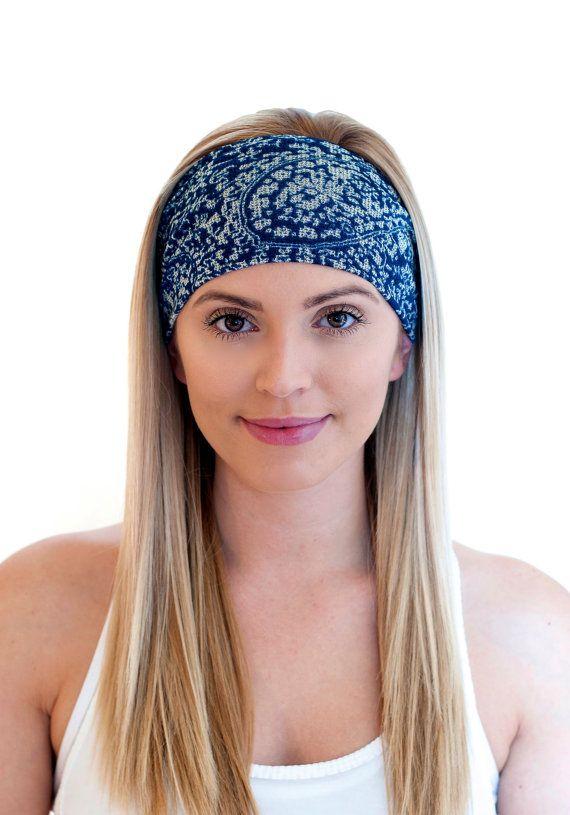 Blue Yoga Headband Workout Headband Fitness by CaliStyleHeadbands