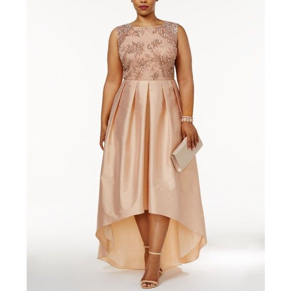 Adrianna Papell Plus Size Embellished Taffeta High-Low Gown ($369) ❤ liked on Polyvore featuring plus size women's fashion, plus size clothing, plus size dresses, plus size gowns, rose gold, adrianna papell gowns, plus size high low dresses, white high low dress and plus size evening dresses