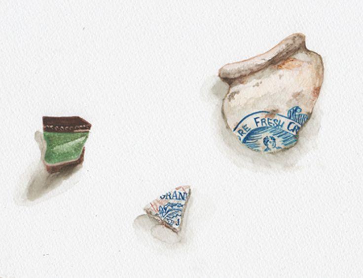 Watercolour sketch of broken pottery.