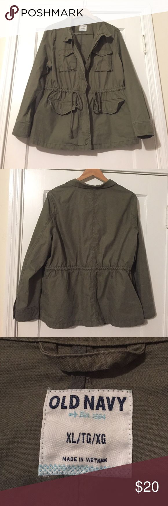 Olive Green Military Jacket Olive Green Military Jacket from Old Navy - Very good used condition! Very comfortable! Waist is adjustable for better fit! Old Navy Jackets & Coats Utility Jackets