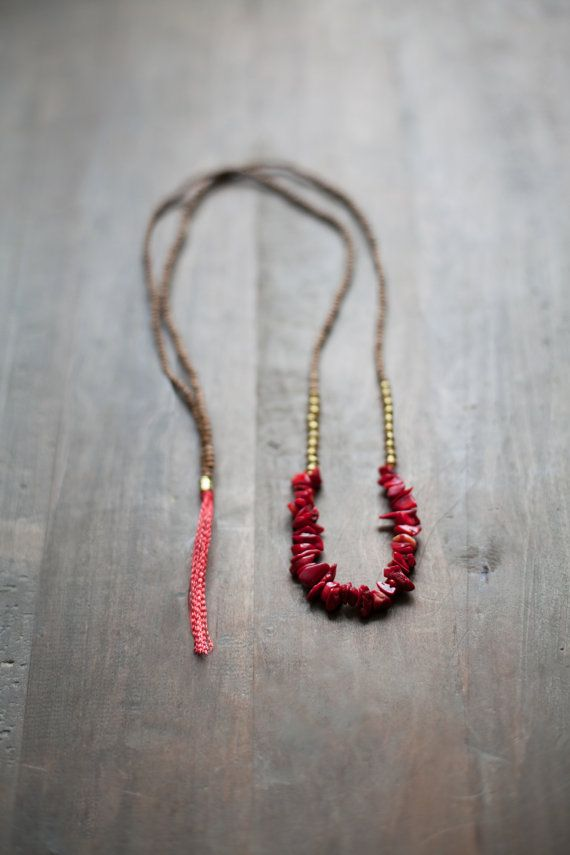 Mixed Media Boho Necklace / Red Colar Necklace /  Gemstone Necklace / Coral necklace