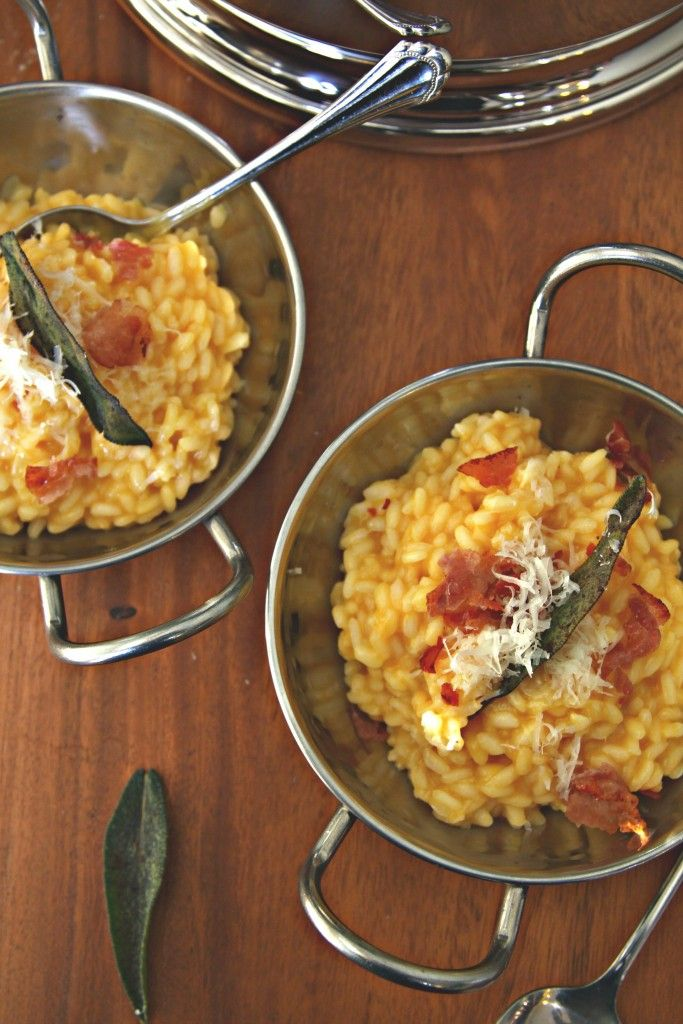Creamy and delicious Roasted Butternut Squash Risotto with Crispy Prosciutto and Fried Sage Leaves.