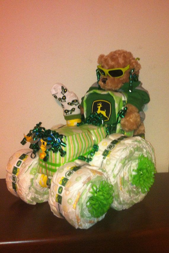 John deere Tractor diaper cake by DivaliciousDiapers on Etsy