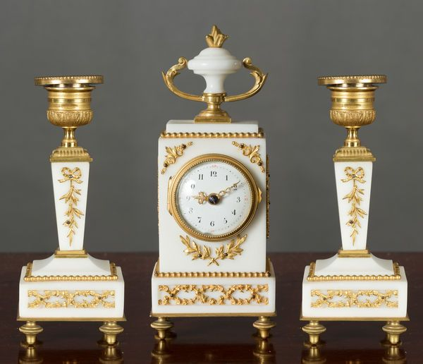 French Miniature  White Marble Garniture
