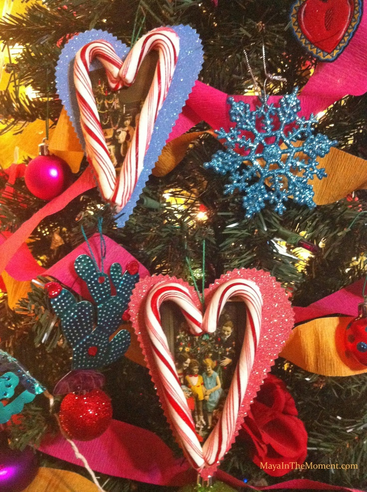 iLoveToCreate Blog: MAYA IN THE MOMENT CRAFT: Candy Cane Heart Picture Ornament