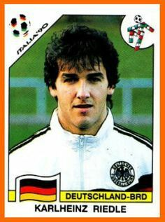Karl-Heinz Riedle of West Germany. 1990 World Cup Finals card.