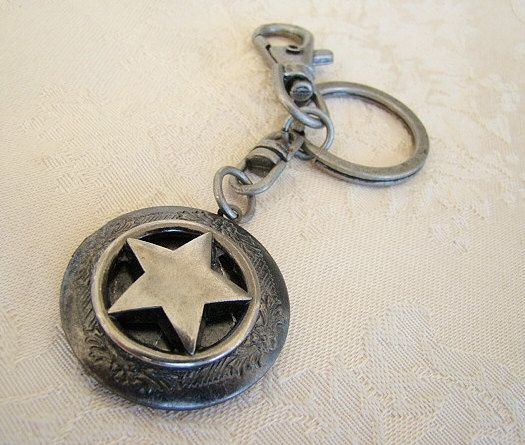 Dark Silver Star Locket Keychain Dad Father Brother Husband Fathers Day Him Her Birthday CowboyCowgirl Brother Sister Photo Picture -Houston