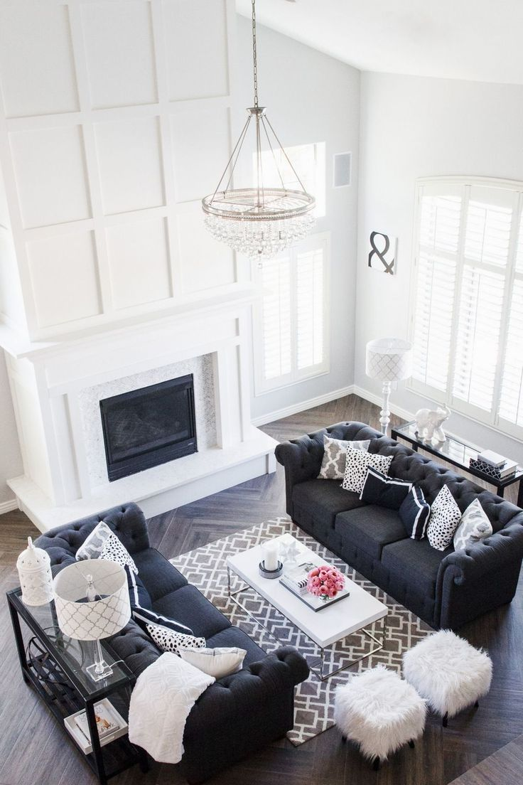 My Formal Living Room | Stoegbauer Home Tour 2016 White Paneled Fireplace with Marble Herringbone Surround Gray/Brown Herringbone Wood-Look Tile Dunn Edwards Cloud Paint