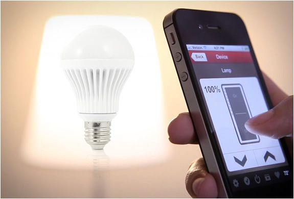 APP CONTROLLED LIGHT BULBS    Seems like these days we are able to control almost everything from our smartphones. Say hello to the world´s first networked dimmable light bulb! The INSTEON LED Bulb is the first remotely controllable, fully dimmable networked light bulb.