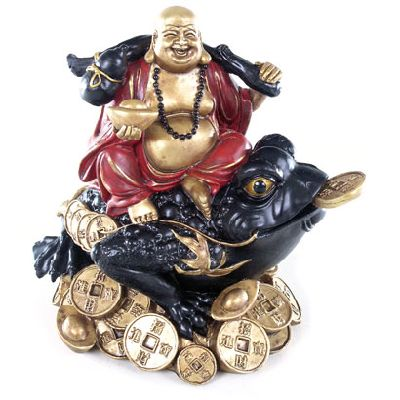 Buddha on Wealth Toad Ornament from Absolute Angels Each Laughing Lucky Buddha is sitting on a Wealth Toad Highly detailed and made from resin that has been finish in red black and metallic gold paint