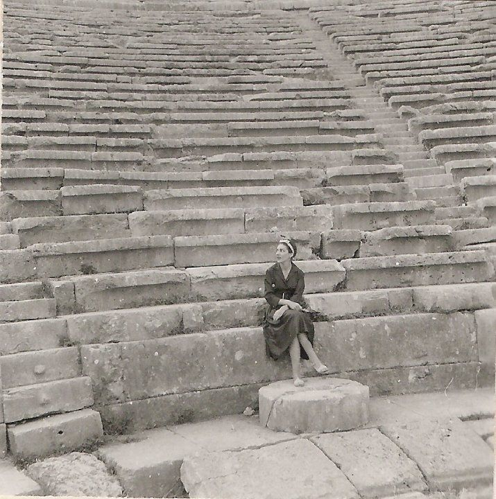 Maria Callas at the ancient theatre of Delphi, 1959 (The shaped marble of the…