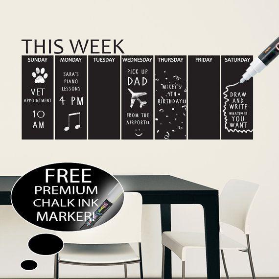 Vinyl Chalkboard Weekly Calendar Wall Decal by HappyWallz on Etsy
