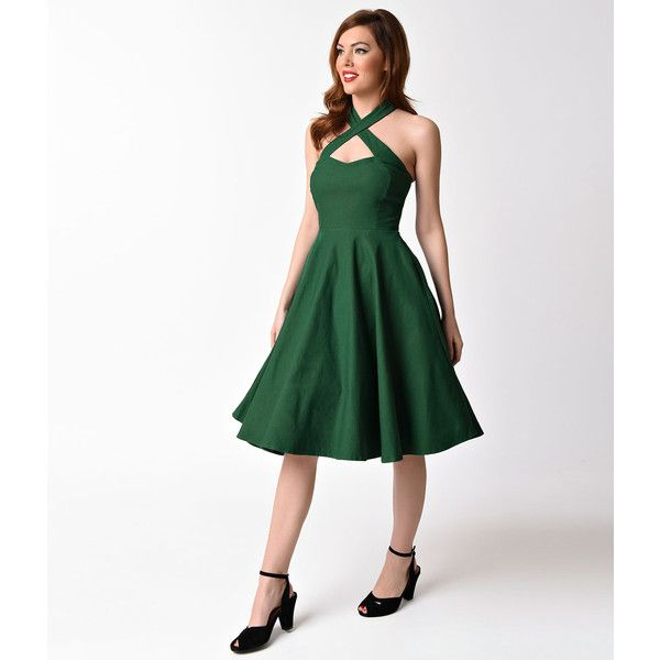 Unique Vintage 1950s Emerald Green Cross Halter Rita Flare Dress ($78) ❤ liked on Polyvore featuring dresses, green, a line dress, halter tops, green vintage dress, white flare dress and white cocktail dress