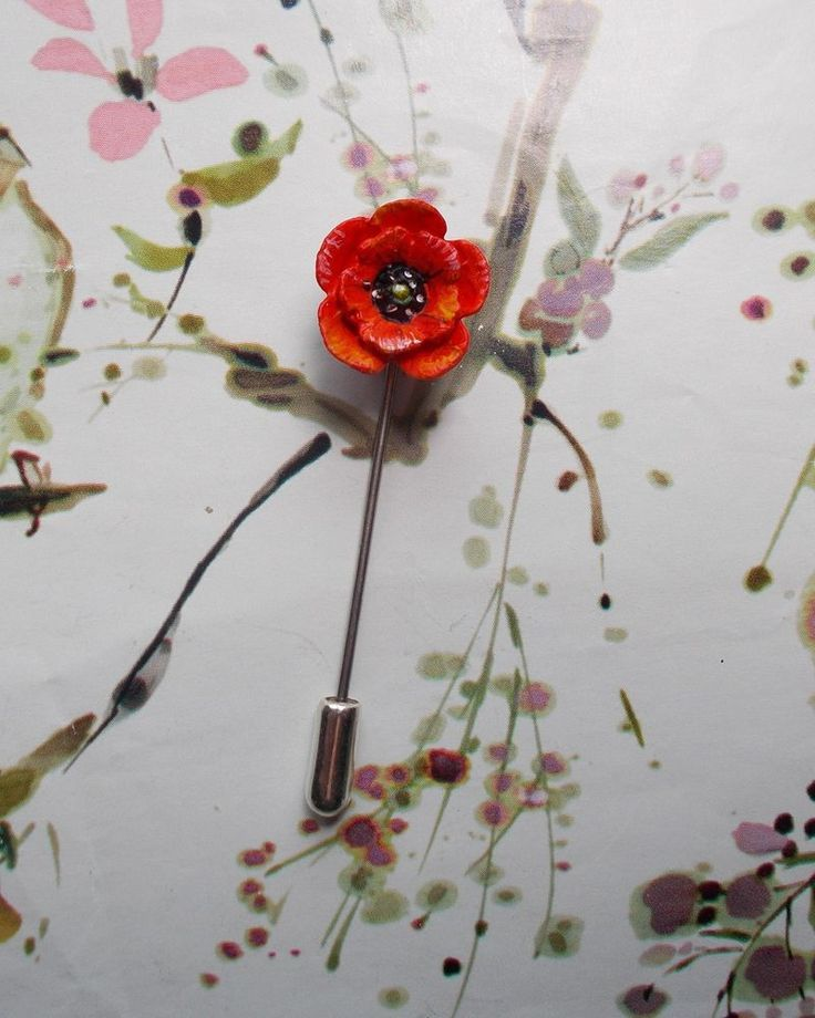 HAND PAINTED Tiny RED POPPY PIN Floral Wedding Brooch Remembrance Lapel Flower  #KerryWilliamsArtistDesigner