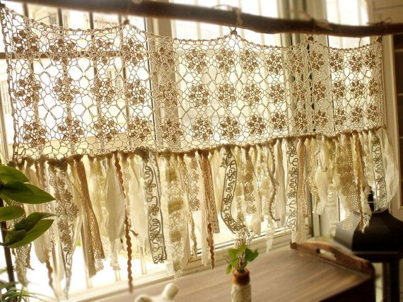Vintage Hippie Valance - Boho HANDmade Crochet Curtain window treatments Shabby Cream Chic Tassel Rag Gypsy