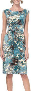 Connected Apparel Petite Faux Wrap Print Dress