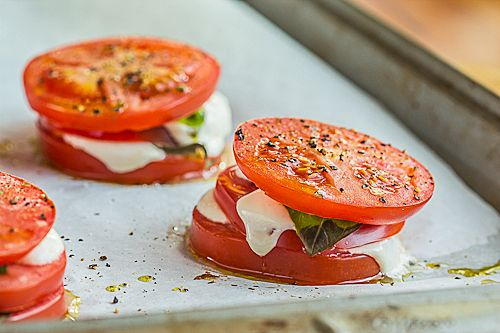 Baked Caprese Salad with Tomatoes and Mozzarella