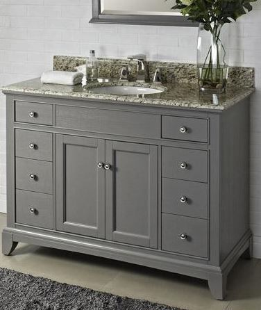 Gray vanity with Santa Cecilia granite. Love this warm, modern pairing.
