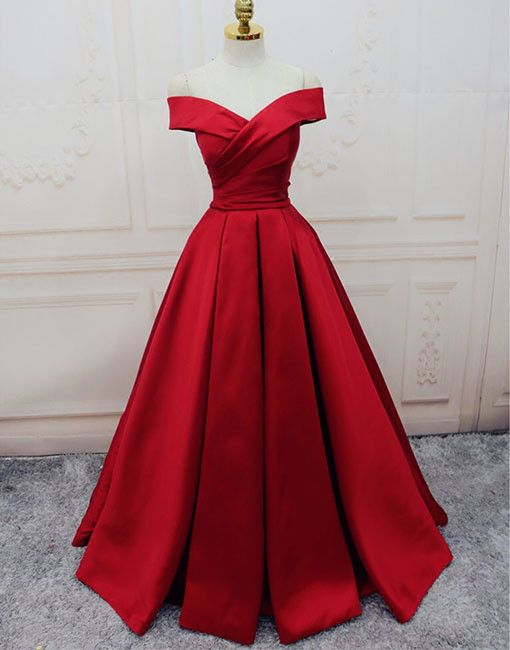 Gorgeous Red Off Shoulder Prom Dress Long Evening Dress Lace Up Prom