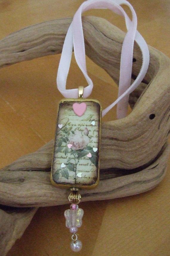 Lovely Rose Domino Pendant with Pink Velvet by bellegemmebylisa, $12.00